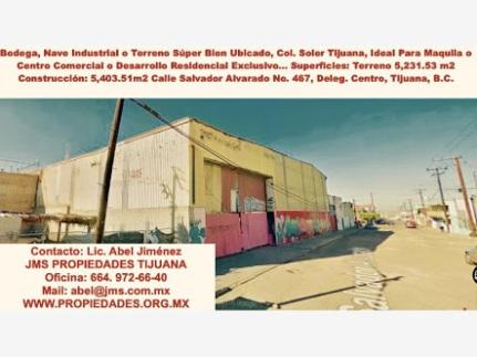 JMS Tijuana - Abel Jiménez. Actualidad Inmobiliaria de México Propiedades, Casas, Bodegas, Naves y Terrenos Adjudicados En Venta y Renta en Tijuana SUPERFICIE: M2 TERRENO: 5,231.53 M2 CONSTRUCCIóN: 5,403.51 PRECIOS: VENTA: $19,500,000 M.N RENTA: $260,000 MENSUALES bodega nave soler