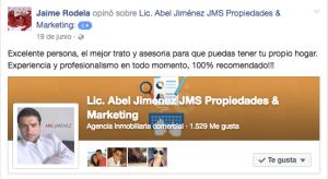 Jaime Rodela, Caso exitoso de Asesoria Inmobiliaria