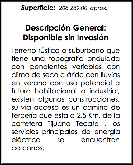 Terrenos Adjudicados en Tijuana Venta de Gran Extension Territorial Reserva de Terreno en Tijuana para Parque Industrial
